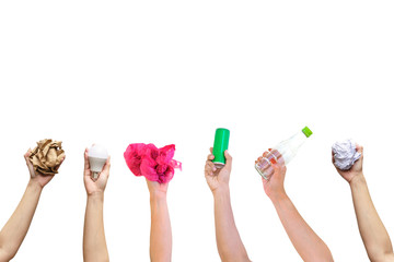 Recyclable hand hold show symbol plastic bottle used paper canned light bulb a white background