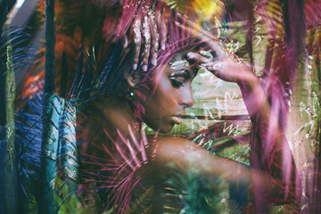 young black woman fantasy portrait double exposure