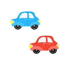 Isolated flat colorful cars toys set