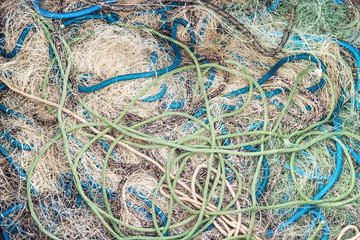 used fishing net texture, nautical background with ropes
