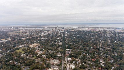 Aerial shot of downtown Mobile, Alabama