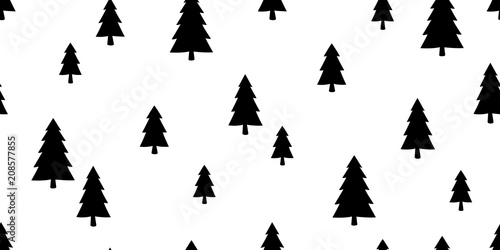 christmas tree seamless pattern vector snow santa claus new year background wallpaper isolated
