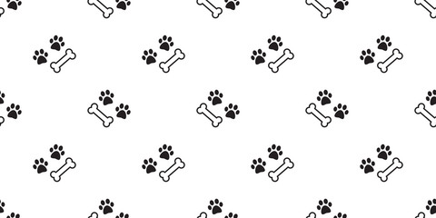 dog paw seamless pattern dog bone vector isolated bulldog background wallpaper white
