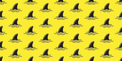 Shark fin seamless pattern vector dolphin isolated ocean background wallpaper