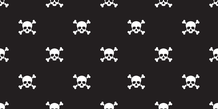 pirate skull seamless pattern vector Halloween crossbone wallpaper isolated repeat tile background