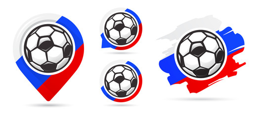 Russian football vector icons. Soccer goal. Set of football icons. Football map pointer. Football ball. Soccer ball.