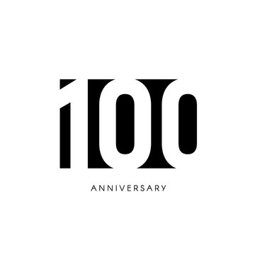 One hundred anniversary, minimalistic logo. One hundredth years, 100th jubilee, greeting card. Birthday invitation. 100 year sign. Black negative space vector illustration on white background.