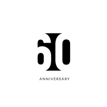 Sixty anniversary, minimalistic logo. Sixtieth years, 60th jubilee, greeting card. Birthday invitation. 60 year sign. Black negative space vector illustration on white background.