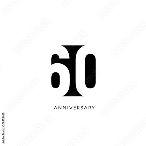 Sixty Anniversary Minimalistic Logo Sixtieth Years 60th Jubilee Greeting Card Birthday