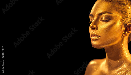 9ff759933 Golden skin woman face. Fashion art portrait closeup. Model girl with  holiday golden glamour