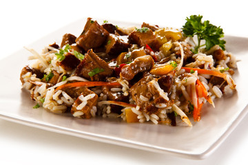 Roast meat with rice and vegetables