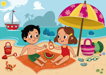 Two cute kids having fun on tropical beach. Vector illustration.