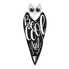 Vector illsutration with bat in sunglasses and lettering text - Be Cool. Hand rock sign, grunge texture, and rays.