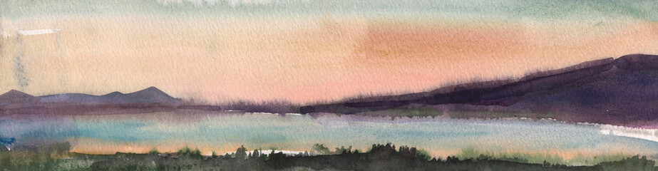 Watercolor painting, landscape, Sunset.