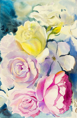 Painting art watercolor landscape original  colorful of the roses