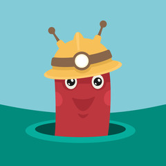 Vector Illustration Character Worm Digger
