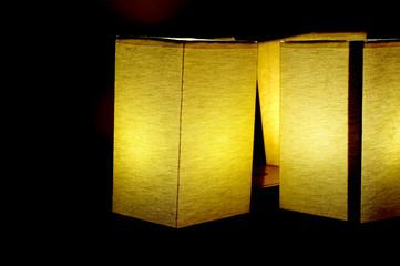 Three lamps night light in a dark background.