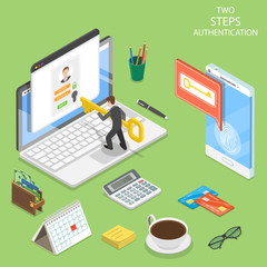 Flat isometric vector concept of two steps verification, multi factor authentication.