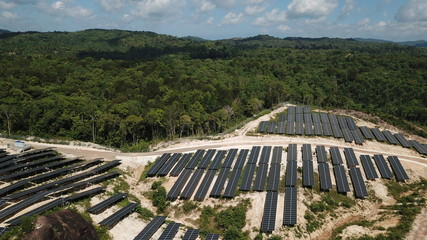 Aerial photo Solar power plant in jungle