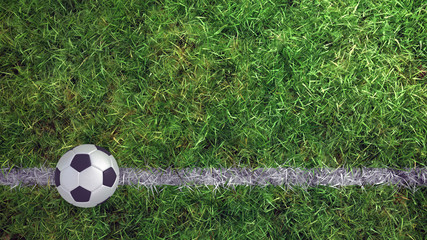 3d soccer ball on grass football field line