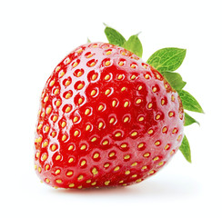 Wall Mural - single ripe strawberry isolated on white background