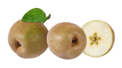 Fototapete - Asian pear(Pyrus pyrifolia) isolated on white background.