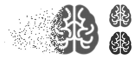 Grey vector brain icon in fractured, dotted halftone and undamaged solid versions. Disappearing effect involves rectangle particles. Pixels are grouped into dissolving brain icon.