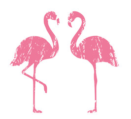 Stamped Flamingo. Isolated. Vector.