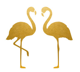 Golden Flamingo. Isolated. Vector.
