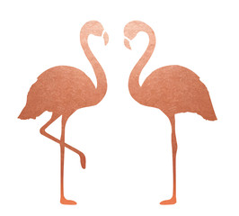 Copper Flamingo. Isolated. Vector.