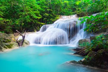 Wall Mural - Erawan Waterfall in tropical forest