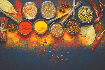 Canvas Prints Spices Wooden table of colorful spices.