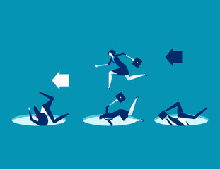 Leader avoiding pitfalls. Concept business vector business illustration. Flat character design, Trapped, Leadership, Cartoon business style.
