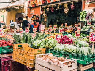 Naples, Italy, June 10th 2018: The colorful ancient antignano markets of Naples