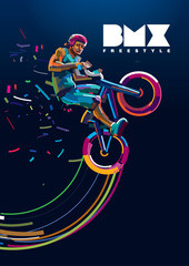 bmx. Biker in a jump. Poster in a digital painting.