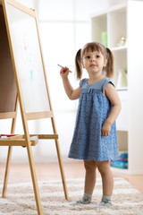 Happy child toddler girl drawing or writting with marker pen on a blank whiteboard at home, preschool, daycare or kindergarten