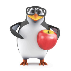 Vector 3d Academic penguin loves apples