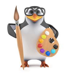 Vector 3d Academic penguin loves to paint
