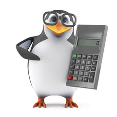 Vector 3d Academic penguin with a calculator