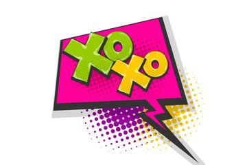 Xoxo pop art comic book text speech bubble