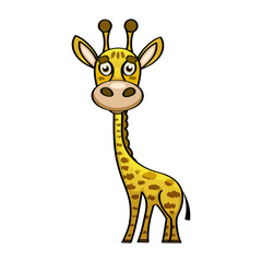 Cute cartoon trendy design little giraffe with closed eyes.