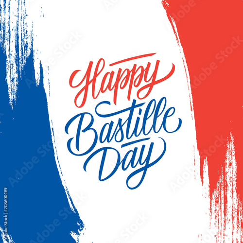 French national day greeting card with brush stroke background in french national day greeting card with brush stroke background in france national flag colors and hand m4hsunfo