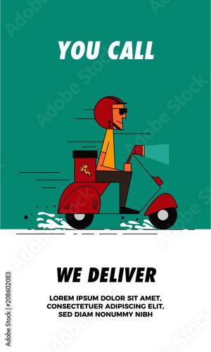 Ad Concept pizza delivery boy delivering pizza on a retro scooter. super-fast
