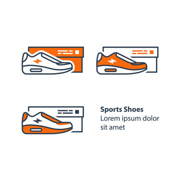 New sneakers collection, sports shoes with box, running foot wear