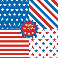 Collection of seamless patterns in national American colors - blue, red, white. American Happy Independence Day. 4th of July. Vector template set.
