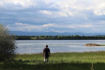 walking towards the lake