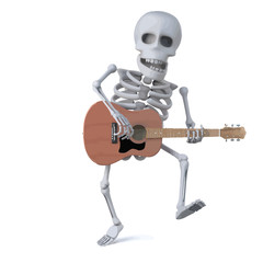Vector 3d Skeleton dancing while playing an acoustic guitar