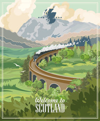 Scotland travel vector in modern style. Scottish landscapes