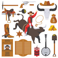 Vector collection of wild west objects isolated on white. Man on bull in rodeo, gold rush accessories, saloon door, wanted dead or alive poster, good for cowboy and western design