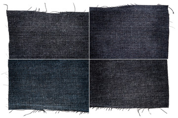 Collection of dark jeans fabric textures